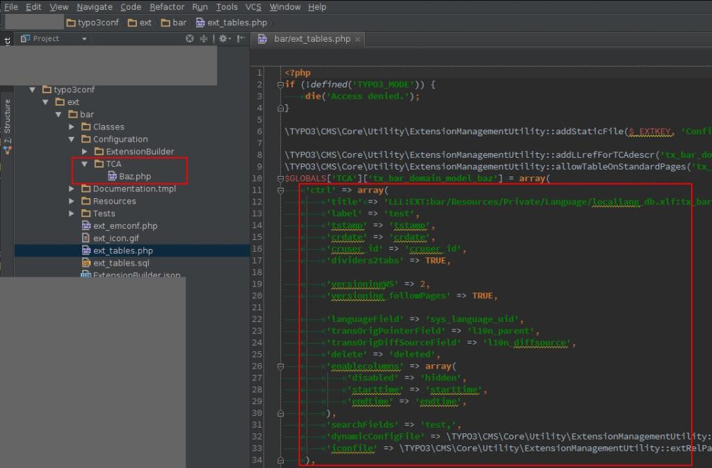 Ausgangslage mit 'falsch' benannter TCA Datei und ext_tables.php mit ctrl-Block