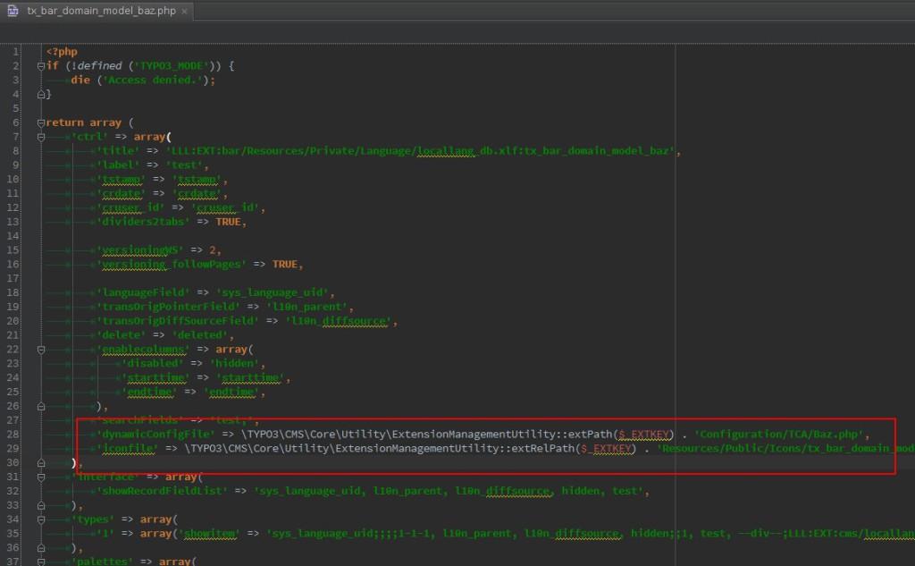 eingefuegter ctrl Block, TCA key entfernt und durch 'return array (' ersetzt, Problemstellen in rot